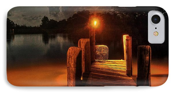Crab Pot At The End Of The Dock Phone Case by Michael Thomas
