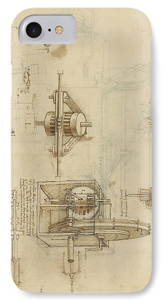 Crank Spinning Machine With Several Details IPhone Case by Leonardo Da Vinci