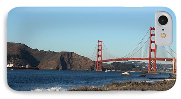 Crashing Waves And The Golden Gate Bridge IPhone Case by Linda Woods