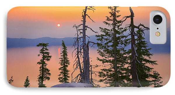 Crater Lake Trees Phone Case by Inge Johnsson