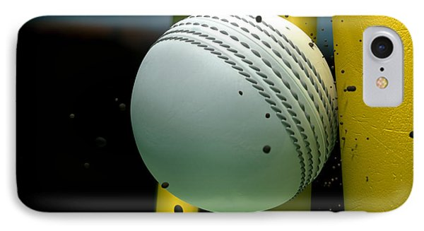 Cricket Ball Striking Wickets With Particles At Night IPhone Case by Allan Swart