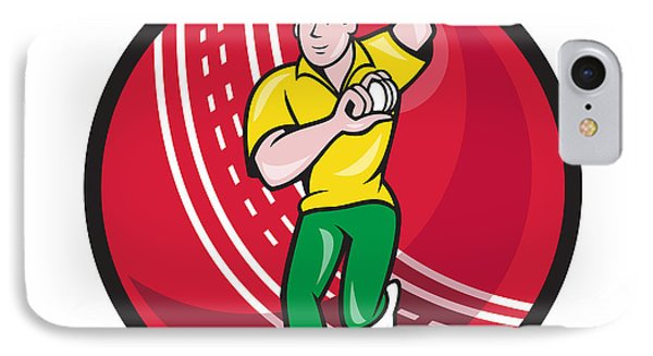 Cricket Fast Bowler Bowling Ball Front Cartoon IPhone Case by Aloysius Patrimonio