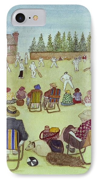 Cricket On The Green, 1987 Watercolour On Paper IPhone Case by Gillian Lawson