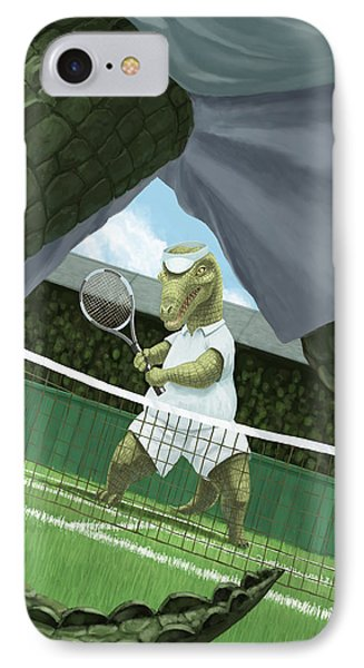 Crocodiles Playing Tennis At Wimbledon  IPhone Case by Martin Davey
