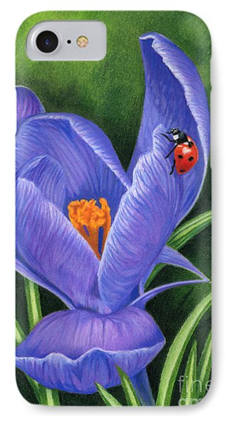 Crocus And Ladybug IPhone Case by Sarah Batalka