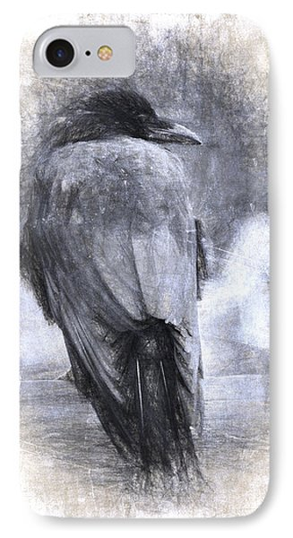 Crow Sketch Painterly Effect IPhone Case by Carol Leigh