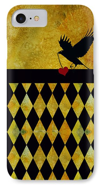 Crow Stole My Heart On Golden Diamonds IPhone Case by Jenny Armitage