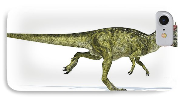 Cryolophosaurus Dinosaur On White IPhone Case by Leonello Calvetti