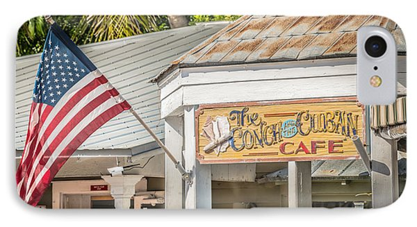 Cuban Cafe And American Flag Key West - Hdr Style IPhone Case by Ian Monk