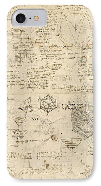 Cube Sphere Icosahedron Mention Of Known Project For Telescope  IPhone Case by Leonardo Da Vinci