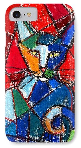 Cubist Colorful Cat IPhone Case by Mona Edulesco