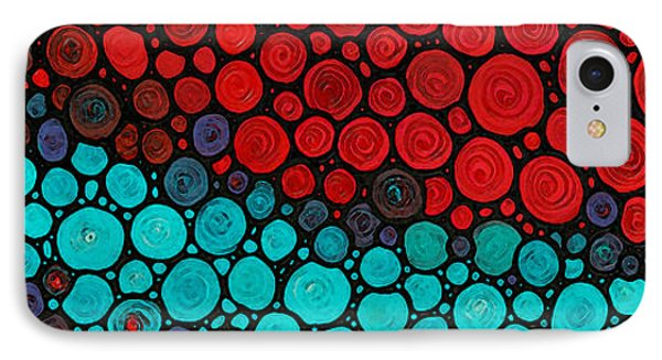 Currents - Red Aqua Art By Sharon Cummings IPhone Case by Sharon Cummings
