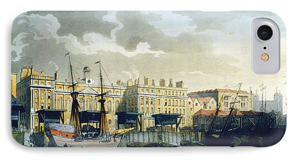 Custom House From The River Thames IPhone 7 Case by T. & Pugin, A.C. Rowlandson