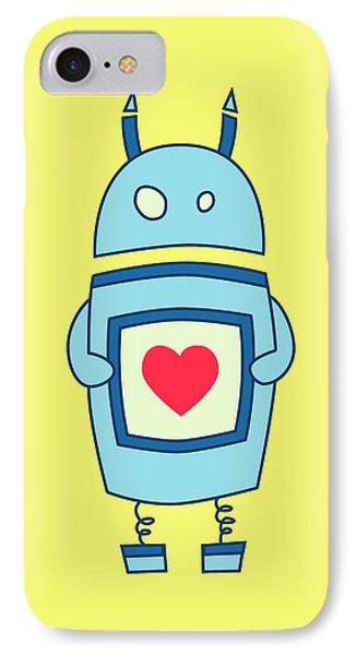 Cute Clumsy Robot With Heart IPhone Case by Boriana Giormova