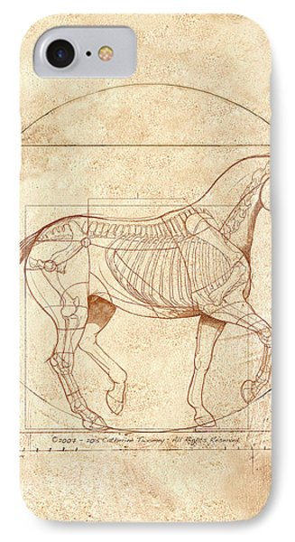 da Vinci Horse in Piaffe IPhone 7 Case by Catherine Twomey