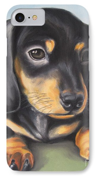 Dachshund Puppy Phone Case by Jindra Noewi