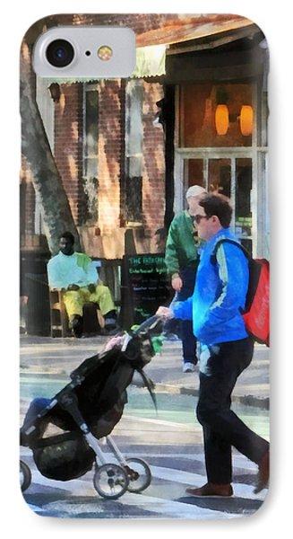 Daddy Pushing Stroller Greenwich Village Phone Case by Susan Savad