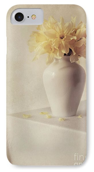 Daffodils In White Flower Pot On The Table IPhone Case by Jaroslaw Blaminsky