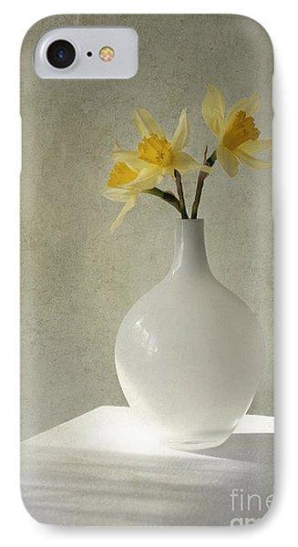 Daffodils In White Glass Flower Pot IPhone Case by Jaroslaw Blaminsky