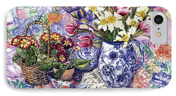 Daffodils Tulips And Iris In A Jacobean Blue And White Jug With Sanderson Fabric And Primroses Phone Case by Joan Thewsey