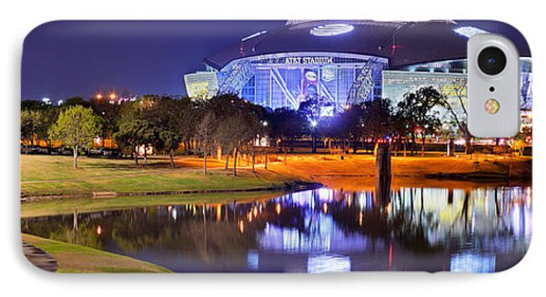 Dallas Cowboys Stadium At Night Att Arlington Texas Panoramic Photo IPhone 7 Case by Jon Holiday
