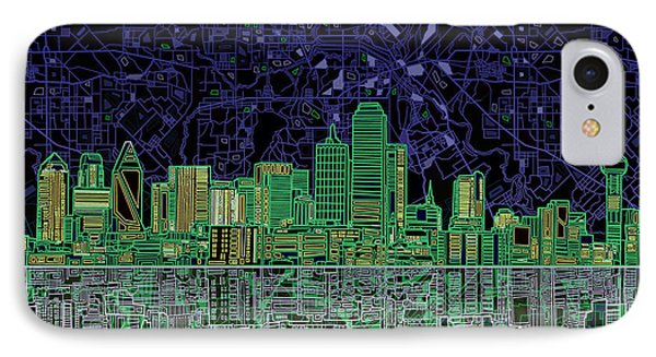 Dallas Skyline Abstract 4 IPhone Case by Bekim Art