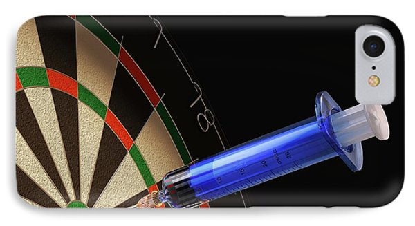 Dartboard And Medical Syringe IPhone Case by Leonello Calvetti