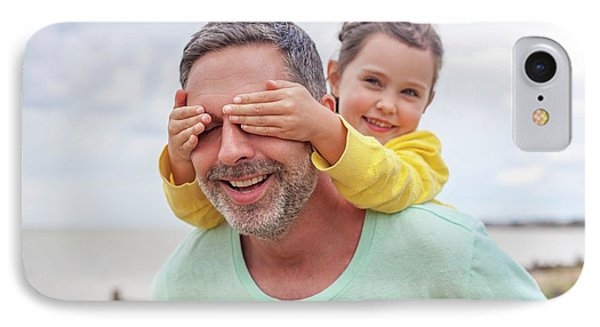 Daughter Covering Father's Eyes IPhone Case by Ian Hooton