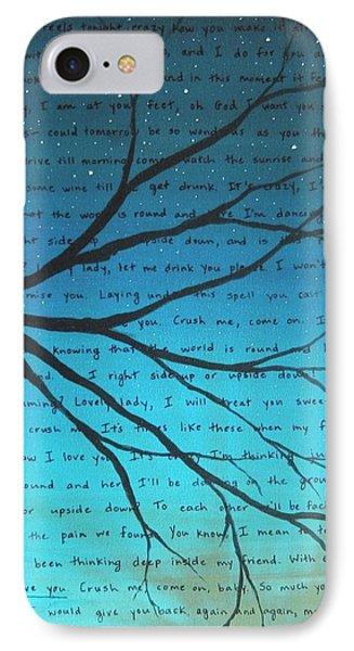 Dave Matthews Band Crush Lyric Art - Blue IPhone Case by Michelle Eshleman