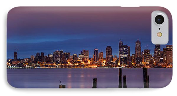 Dawn Panorama Of Downtown Seattle From Alki Beach IPhone Case by Silvio Ligutti