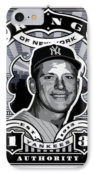Dcla Mickey Mantle Kings Of New York Stamp Artwork IPhone 7 Case by David Cook Los Angeles