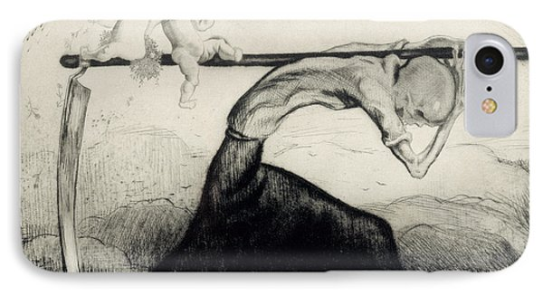 Death With Two Children Carried On His Scythe IPhone Case by Michel Fingesten