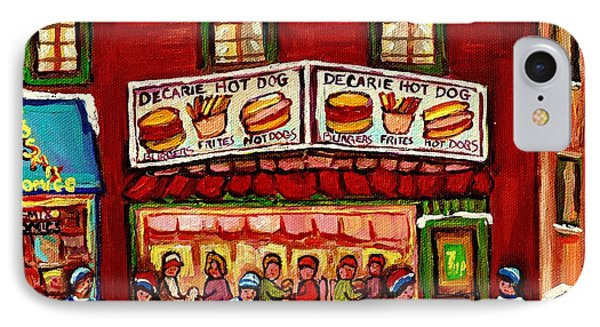Decarie Hot Dog Restaurant Cosmix Comic Store Montreal Paintings Hockey Art Winter Scenes C Spandau IPhone Case by Carole Spandau