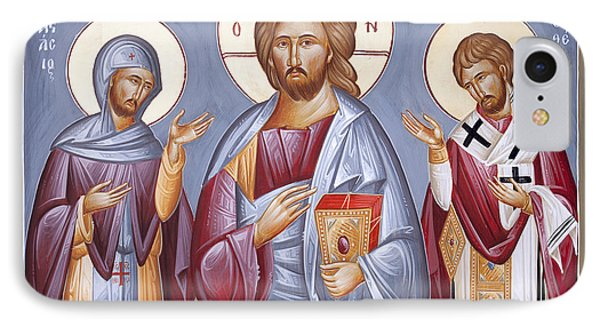 Deisis Jesus Christ St Anastasios And St Eleftherios IPhone Case by Julia Bridget Hayes