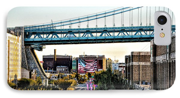 Delaware Avenue And The Ben Franklin Bridge IPhone Case by Bill Cannon
