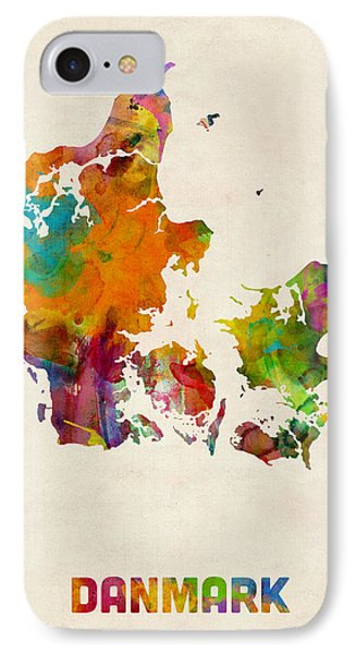 Denmark Watercolor Map IPhone Case by Michael Tompsett