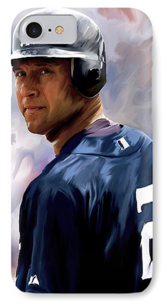 Derek Jeter  IPhone Case by Iconic Images Art Gallery David Pucciarelli