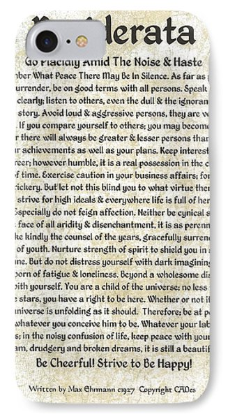Desiderta Poem On Tuscan Marble Phone Case by Desiderata Gallery