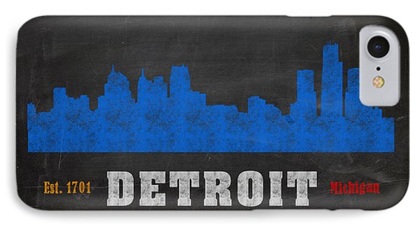 Detroit City Skyline Chalkboard Chalk Art IPhone Case by Design Turnpike