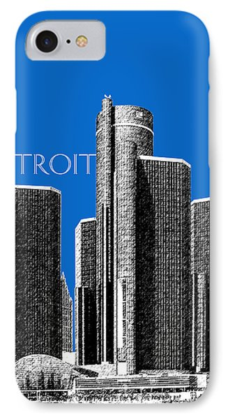 Detroit Skyline 1 - Blue IPhone Case by DB Artist