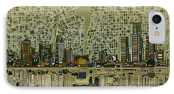 Detroit Skyline Abstract 4 IPhone Case by Bekim Art