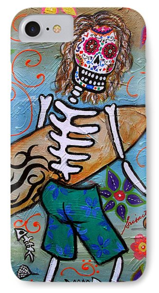Dia De Los Muertos Surfer Phone Case by Pristine Cartera Turkus