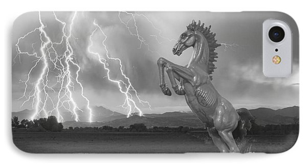 Dia Mustang Bronco Lightning Storm Bw Phone Case by James BO  Insogna