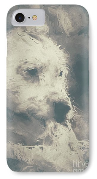 Digital Oil Painting Of A Cute Scruffy Dog  IPhone Case by Jorgo Photography - Wall Art Gallery
