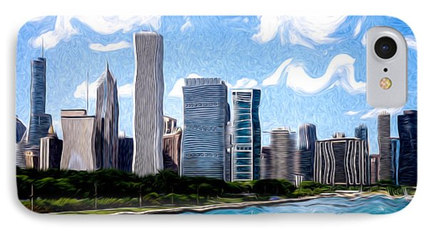 Digitial Painting Of Downtown Chicago Skyline Phone Case by Paul Velgos