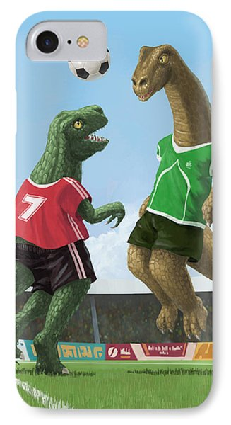 Dinosaur Football Sport Game Phone Case by Martin Davey