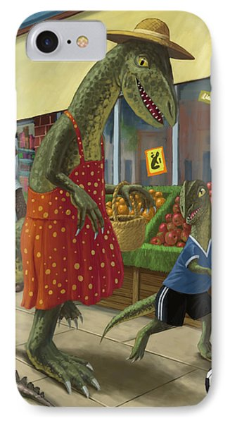 Dinosaur Mum Out Shopping With Son Phone Case by Martin Davey