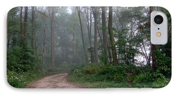 Dirt Path In Forest Woods With Mist Phone Case by Olivier Le Queinec