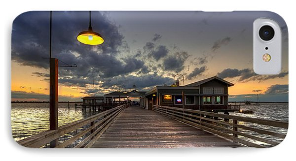 Dock Lights At Jekyll Island IPhone Case by Debra and Dave Vanderlaan