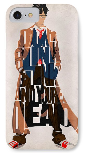 Doctor Who Inspired Tenth Doctor's Typographic Artwork IPhone Case by Ayse Deniz